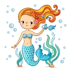 Cute swimming cartoon mermaid vector