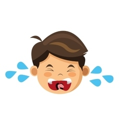 Crying boy icon vector