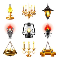 Vintage lamps icons set vector
