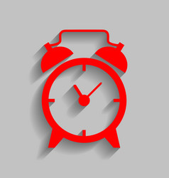 alarm clock sign red icon with soft vector image vector image