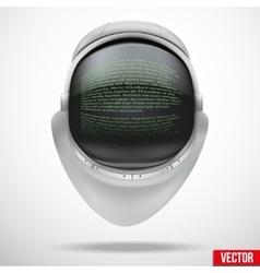 Astronaut helmet with digital text on reflection vector