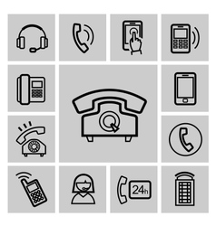 black phone icons set vector image vector image