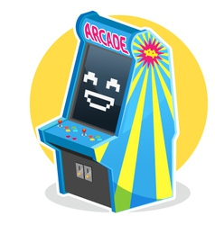 Blue Vintage Arcade Machine Game vector image vector image