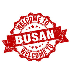 busan round ribbon seal vector image
