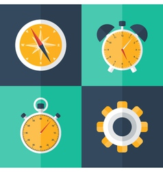 Business flat icons blue and green vector