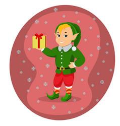 cartoon cute christmas elf with gift box vector image vector image