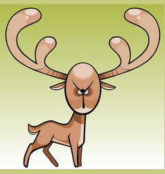 Cartoon funny terrible and angry deer vector