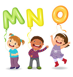 cartoon kids holding letter mno shaped balloons vector image vector image