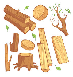 cartoon wooden materials lumber firewood wood vector image
