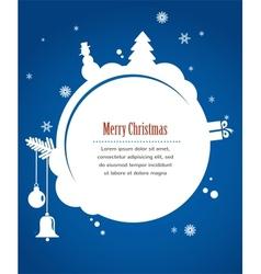 christmas card with snowman present and christmas vector image