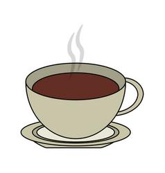 Color image cartoon top view crockery cup of vector