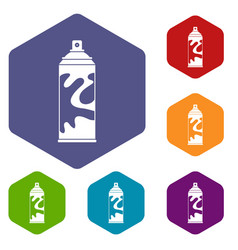 colored spray icons set hexagon vector image vector image