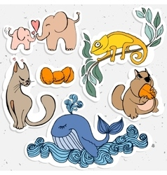 Cute animals cartoon chameleon whale with vector image