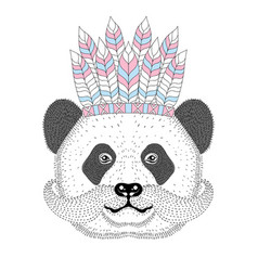 cute panda with mustache war bonnetdesign vector image vector image