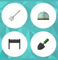 Flat icon farm set of barbecue hay fork hothouse vector