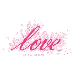 Floral card with Love word vector image vector image