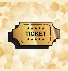 Gold ticket icon vector
