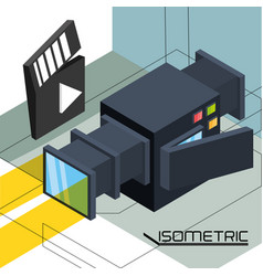 Isometric camcorder or video camera technology vector
