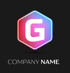 Letter g logo symbol in colorful hexagonal vector