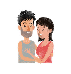 Man and woman couple hugging icon image vector