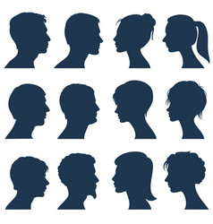 Man and woman face profile silhouettes vector