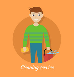 member of cleaning service with bucket and sponge vector image vector image