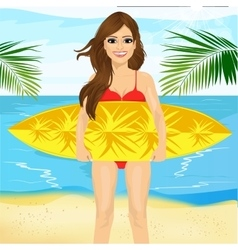 Professional female surfer holding a surf board vector