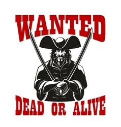 Reward for pirate wanted dead or alive vector image vector image