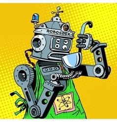 Robot chef food tastes vector image vector image