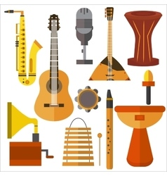 Set musical instruments guitar gramophone vector