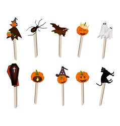 Set of Halloween Item and Monster on Wooden Sticks vector image vector image