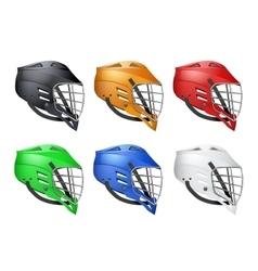 Set of lacrosse helmets vector