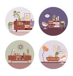 Set of retro interiors in circle vector