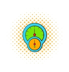 Speedometer and tachometer icon comics style vector