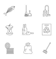 Trash icons set outline style vector