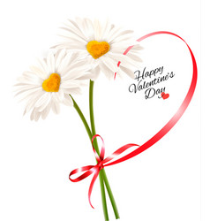 Valentines day background two daisies with heart vector