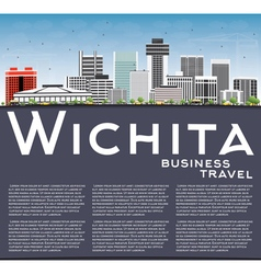 Wichita skyline with gray buildings vector