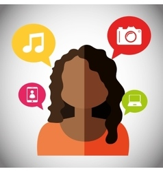 Woman avatar and social media design vector image vector image