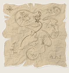 Pirate treasure map of the island on old paper vector