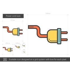 Power cord line icon vector
