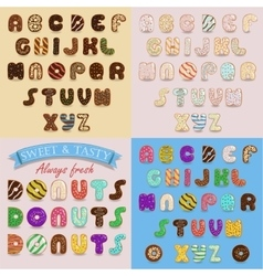 Sweet donuts artistic alphabets vector