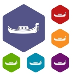 Venice gondola icons set vector