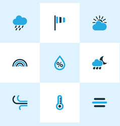 Climate colored icons set collection of rainstorm vector