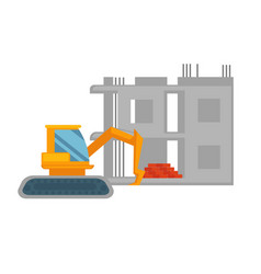 Orange excavator and unfinished building with pile vector