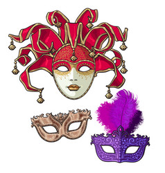 Set of three decorated venetian carnival masks vector