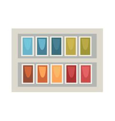 Art palette in rectangular box isolated on white vector