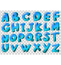 Letters of the alphabet in blue colors vector