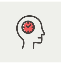 Clocks in head thin line icon vector