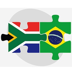 South africa and brazil flags in puzzle vector
