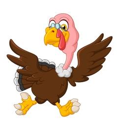 Cute turkey running vector image